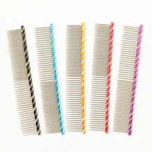 Armi store Pet Dog Comb 6062003 Bright Multi-Colored Stripe Grooming Comb For Shaggy Cat Dogs Barber Grooming Tool Salon 5 Color(China)
