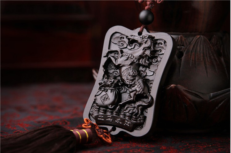 Wooden Black Dragon Amulets Car Hanging Decoration