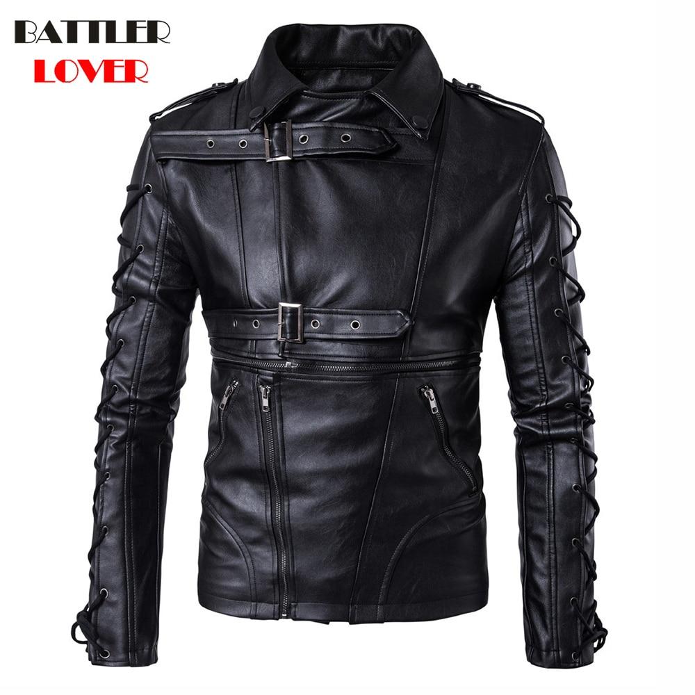 2018 Natual Leather Jackets Men Bomber Bandage Winter Motorcycle Jacket Mens Genuine Leather Windbreaker Motor Biker Hombre Coat