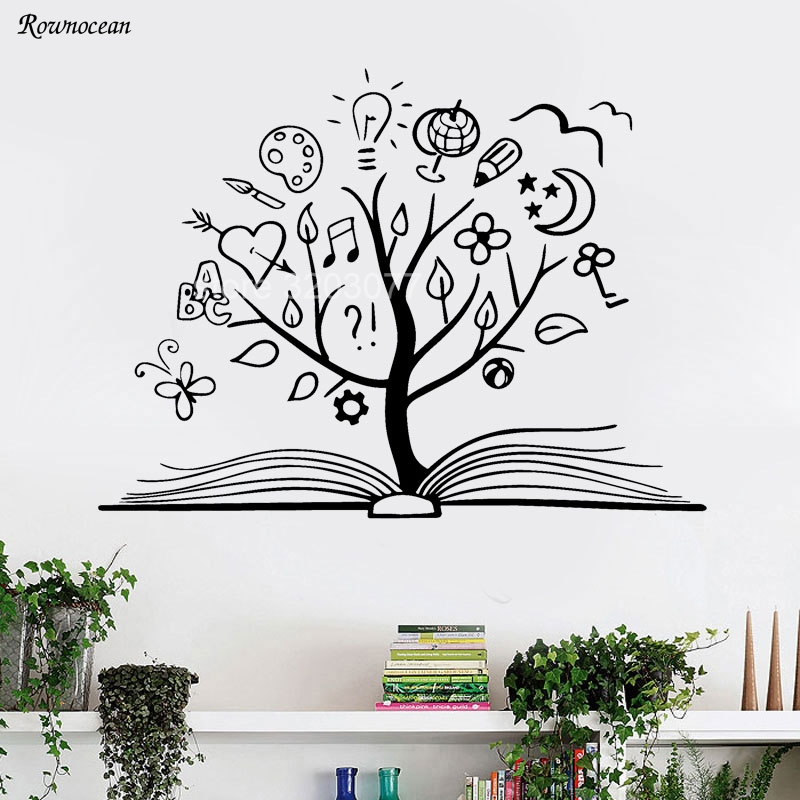 book tree wall decal library school vinyl sticker unique home art
