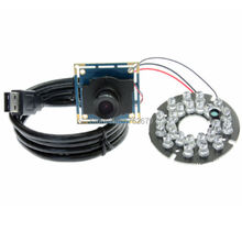 2.1mm lens VGA 640 x 480 MJPEG: 30FPS Usb Camera Module OV7725 24pcs IR LED infrared usb with Camera board with 2m usb cable