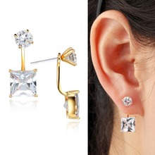 Front And Back Yellow Gold Color Ear Jacket Round Princess Cut Square CZ Swing Stud Earrings For Women Girl Jewelry Aros Aretes(China)