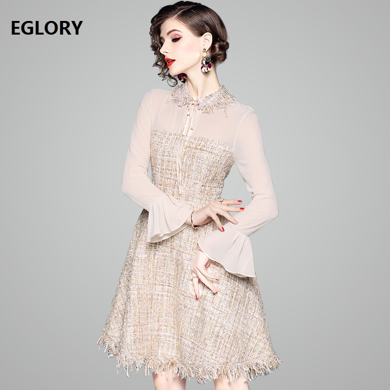Tassel Wool Dress 2019 Spring Autumn  Dress Women High Quality Chiffon Tweed Wool Patchwork Flare Sleeve Party Boutique Dresses