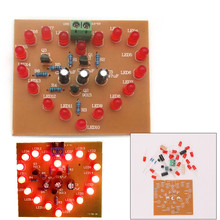 DIY Kit Heart-Shaped LED Flash Light Cycle Flashing Light Electronic Suit Heart-shaped Lamp DIY Electronic Circuit Board(China)