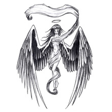 Yeeech Temporary Tattoos Sticker for Women Sexy Fake Long Hair Angel Wings Designs Large Back Arm Leg Body Art Waterproof Black