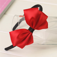korean boutique  large solid red children baby girls grosgrain ribbon hair clasp bows satin headband hairband accessories ST-6