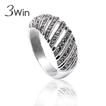 WinWinWin Brand Top Quality Fashion Silver Color Baroque Black Rhinestone Birthday Christmas Gifts Fine Hollow Rings for Women