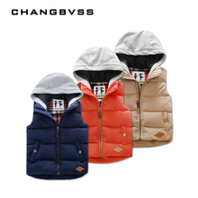 2016 Winter Boys Vest Kid Waistcoats, Boy Child Sleeveless Jacket, Thicken Kid Clothing Boy Outwear Autumn Hooded Coat(China)