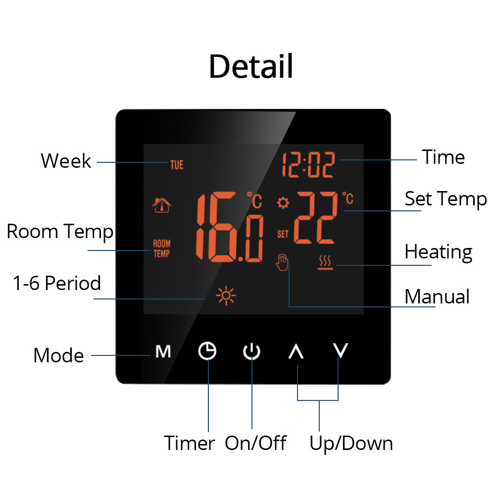 Heating Thermostat for Electric Floor Heater with LCD Touch Screen Weekly Programmable(3)