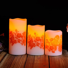 Led Electronic Candle Light Wedding Romantic Decoration Znicz Bougie D Coratives Wax Flameless Pillar Candles Home Decor DDZ281(China)