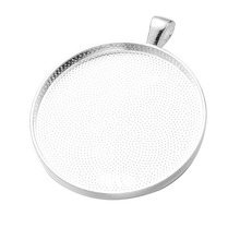 10pcs/lot 38mm Silver Plated Pendant Settings Cabochons Bases Bezel Trays Fit Cabochon Cameo DIY Necklace Findings(China)