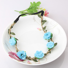 New Bride Silk Flower Headband Travel Wedding Floral Garland Hair Bands Headwear Beauty Hair Accessories For Women(China)