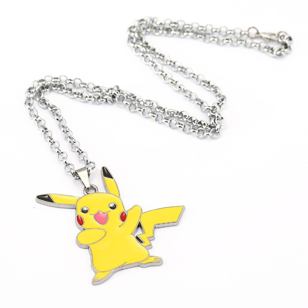 H&F Anime Cartoon Pikachu Necklace Metal Figures Pendants Key Chains Cosplay Pendant Costume Collectible  -  Half Moon Jewelry store