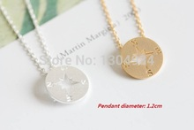 Jisensp New Fashion Compass Necklace Korean Fashion Long Chain Pendant Simple Tiny Dainty Necklace for Women Party Gift N089
