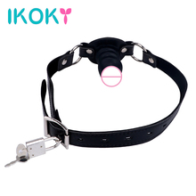 Buy IKOKY Dildo Mouth Gag Locking Buckles Oral Fixation 3 Colors Slave SM Bondage Fetish Sex Toys Couples Small Penis Gag