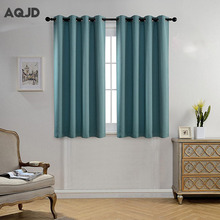 Sound Insulation Solid Color Blackout Curtains for Window Polyester Cotton Curtains For Living Room The Bedroom Blinds Sj-1021(China)