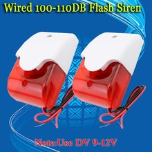 Free Shipping!2pcs/Lot 12V Mini Indoor Wired Siren with Red light Flash Sound Home Security Alarm Strobe System 110dB Hot Sale