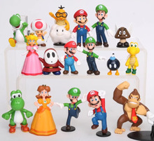 High Quality 18pcs Super Mario Bros Collection 2inch Luigi Donkey Kong Yoshi Action Figure Model Toy Characters Brinquedos Doll