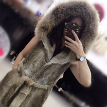New  A fur coat with a hat in 2017  Raccoon fur collar  Wear a trim belt  Show your sexuality  Increase your international norm