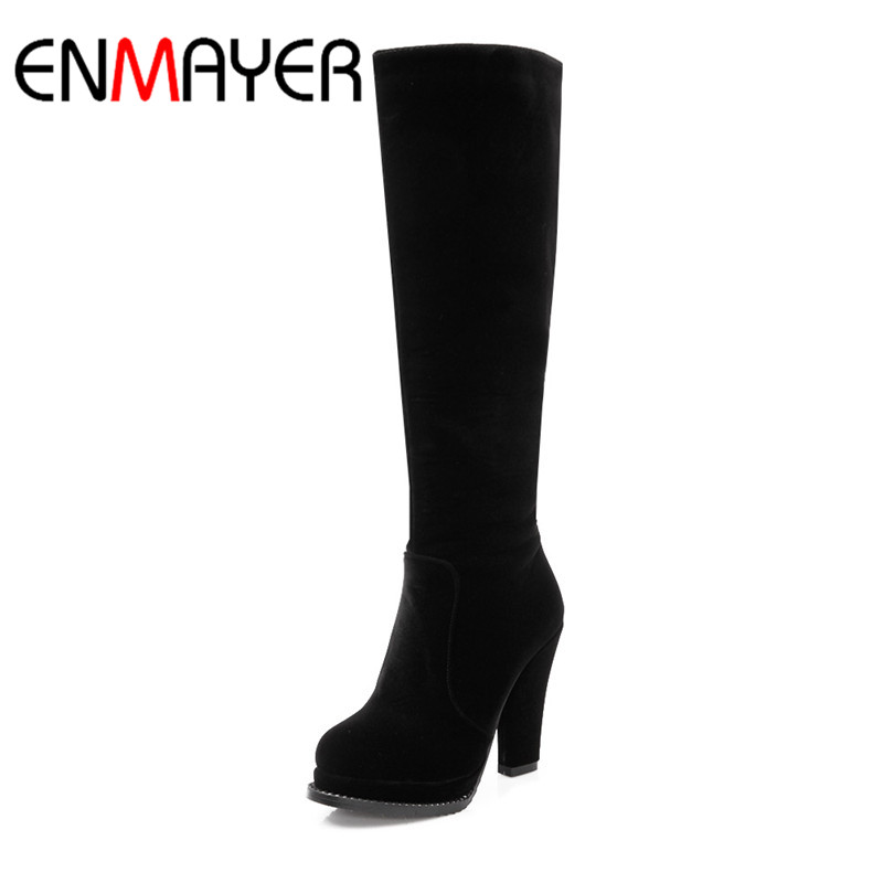 ENMAYER Womens Shoes Fashion Winter Women Boots knee-High Zip Round Toe Super High Heel Black Brown Red Lady Boots Solid Flock<br>