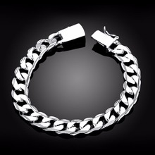 "Men's 925 Sterling Silver Bracelet Curb Chain 10mm 8.3"" Wholesale Fashion Men's Bracelet 925 Sterling Silver Jewelry LSPH032"