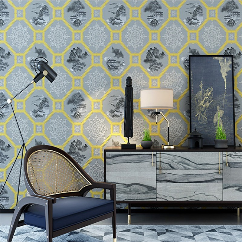 Free Shipping New Chinese style classical wallpaper living room study room office TV wall background wallpaper<br>