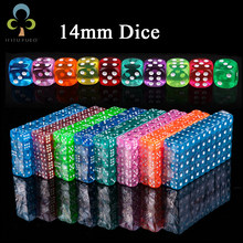 10pcs 14mm Clear Colorful Dice Transparent Dices for Board Game Bar Cambling Playing Rpg Game Club Party Accessories GYH(China)