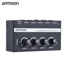 ammoon MX400 Ultra-compact Low Noise 4 Channels Line Mono Audio Mixer with Power Adapter(China)