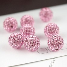 8mm 10mm 12mm Pink Micro Pave Disco Ball Crystal Shamballa Beads for Bracelet Necklace Making 10pcs/lot S14(China)