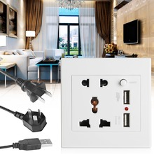 2.1A Dual USB Wall Socket Charger AC/DC Power Adapter Plug Outlet Panel w/Switch-Y122