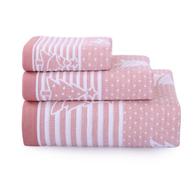 3-Pieces Cotton Towel Set Pink Christmas tree Luxury Bath Towel For Adults Face Towel High Absorbent toalha de banho