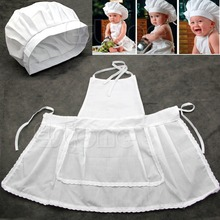 White Cute Baby Prop Newborn Infant Photos Photography Hat Apron Cook Costume(China)