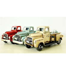 2017 Vintage Nostalgia Iron Car Craft Childhood Toy Gift Antique Pickup Truck Desk Table Decoration Lover Birthday Gifts Present(China)