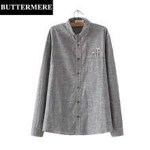 Buy BUTTERMERE Linen Blouses Plus Size 3XL Casual Embroidery Blouse Blue Grey White Striped Shirt Pocket Long Sleeve Top Women for $22.57 in AliExpress store