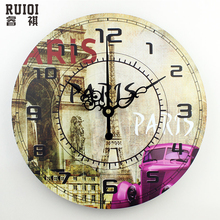 Europe style large decorative wall clock absolutely silent vintage wall clock home decor quartz watch wall gift orologio parete(China)