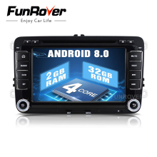 Funrover 2 din 7 dvd-плеер автомобиля VW JETTA rns510/PASSAT B6/GOLF 5/6 cc Polo Tiguan Touran Caddy сиденье Wi-Fi gps CANBUS Controle usb(China)