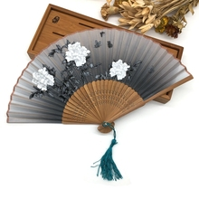 Free Shipping Beauty Flower Silk Hand Fan Brown Ribs Folding Fan Girl Lovely Mini Fan Women Dancing Fan