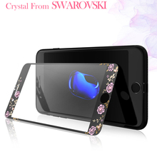 Original Kavaro For iPhone 7 Plus Tempered Glass Screen Protector For iPhone 7 9H 0.3 Plated Flora Swarovski Crystals Glass Film