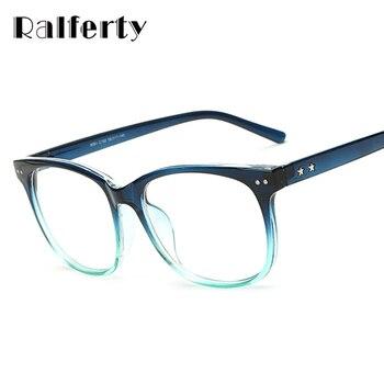 Ralferty Forma Transparente Óculos de Armação Com Lente Clara Para A Miopia Do Vintage Óculos Mulheres Homens Estrela Retro Óculos Óculo 8081