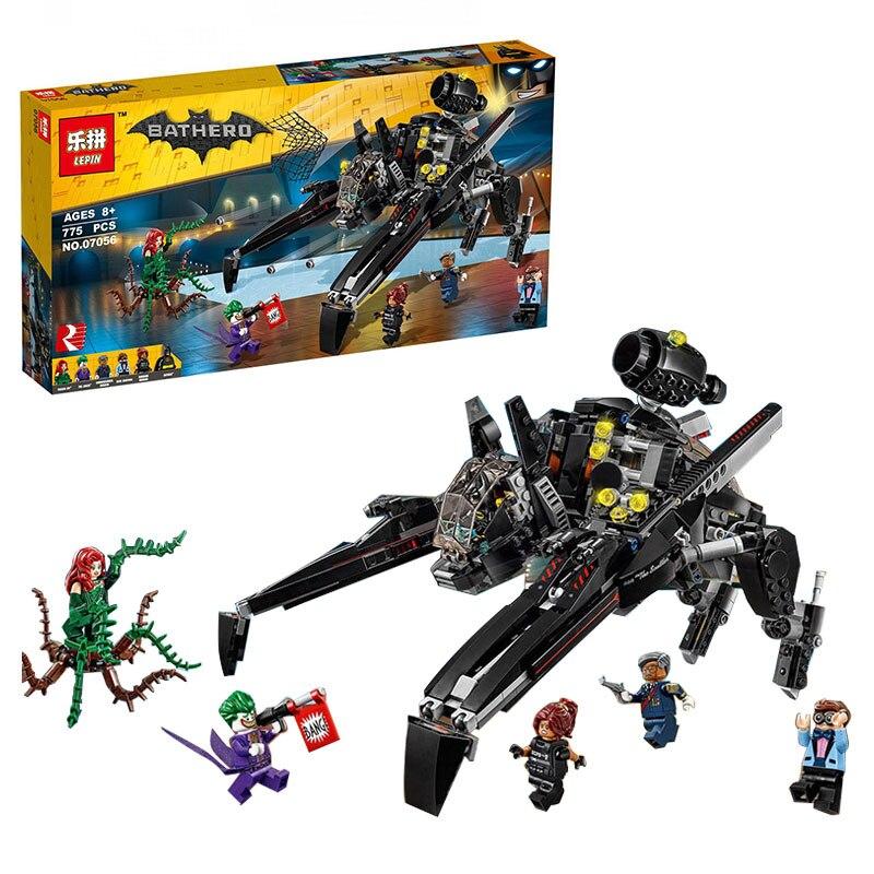 775Pcs Lepin 07056  Genuine Batman Movie Series The Scuttler Bat Spaceship Set Building Blocks Bricks Education Toys 70908<br>