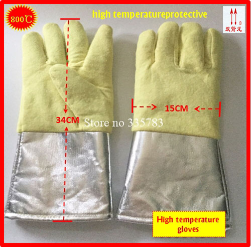 260-800 degrees high temperature gloves Aramid + Aluminum foil megathermal safety glove Flame retardant protection gloves<br>