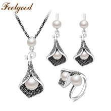 Feelgood New Jewellery Set Individuality Vintage Silver Color Calla Lily Flower And Imitation Pearl Jewelry Sets For Women(China)
