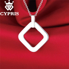 silver  Fashion Nice  Round Square Pendant Charm Necklace 18inch Wholesale Price  Factory Direct Sale  jewelry