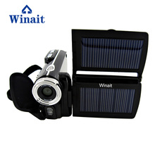 Winait free shipping HD 12MP dual solar panel digital video camera with 8x digital zoom camcorder(China)