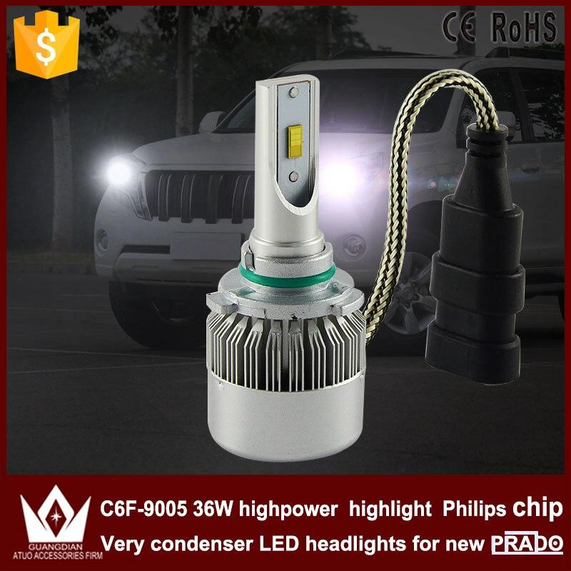 Guang Dian car led light 9005 Headlight Head lamp 9005 HB3 High beam C6F 6000K white for Prado 2010-2015<br><br>Aliexpress