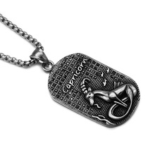HIP Punk 12 Zodiac Sign Men Capricorn Charm Necklaces & Pendants Solid Casting Stainless Steel Dog Tags Necklace for Men Jewelry