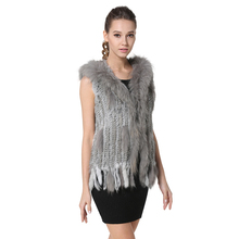 Plus Size Classic Women Knitted Rabbit Fur Vest with Real Raccoon Fur Trim Hood Gilet Hooded Waistcoat with Tassels AU00290