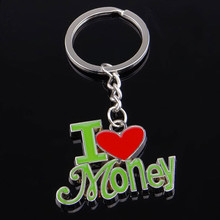 METAL I LOVE MONEY KEYCHAIN KEYRING KEY CHAIN RING FOB 4S STORE GIFT BABY520(China)