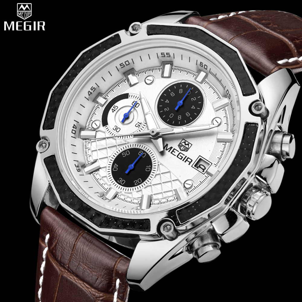 Genuine MEGIR quartz male watches Genuine Leather watches racing men Students game Run Chronograph Watch male glow hands<br>