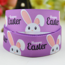7/8'' (22mm) Easter Rabbit Cartoon Character printed Grosgrain Ribbon party decoration satin ribbons OEM 10 Yards X-01659(China)